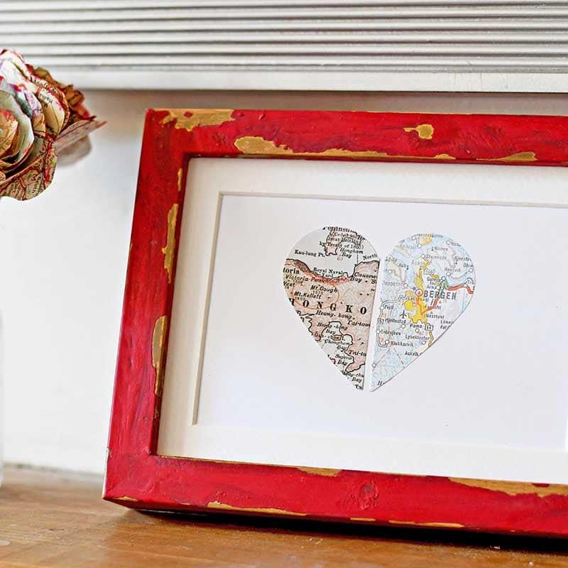 Pillar Box Blue - personalized map heart