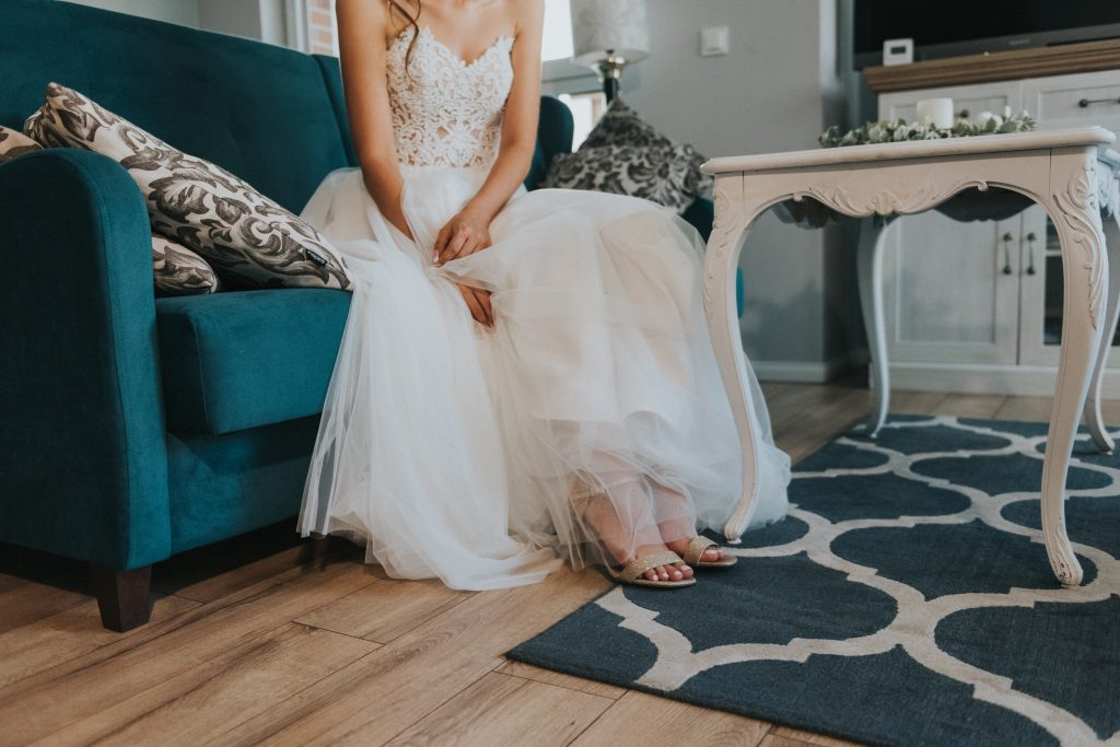 Wedding couch with bride
