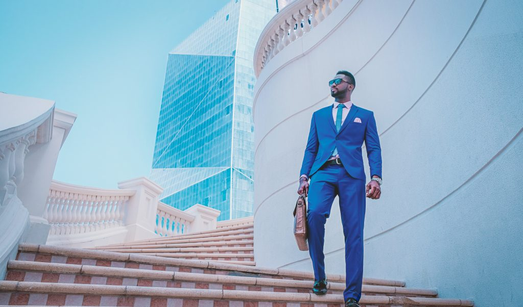 Bold suits for groom and groomsmen