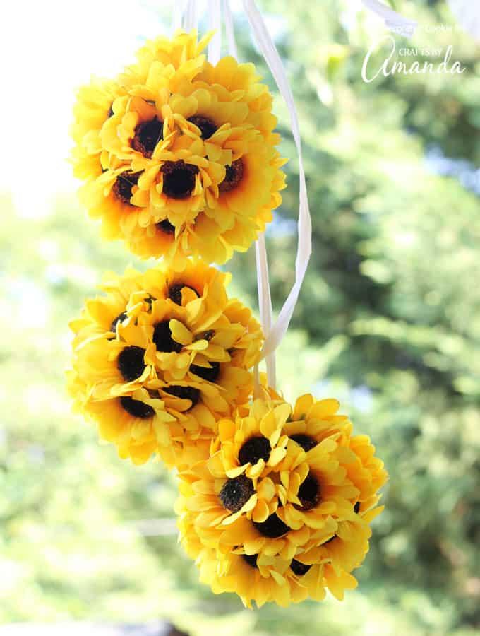 Sunflower Kissing Balls - Easy DIY Bridal Shower Decorations
