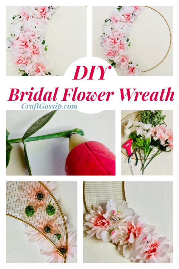 Pink and Gold Floral Bridal Wreath - Easy DIY Bridal Shower Decorations